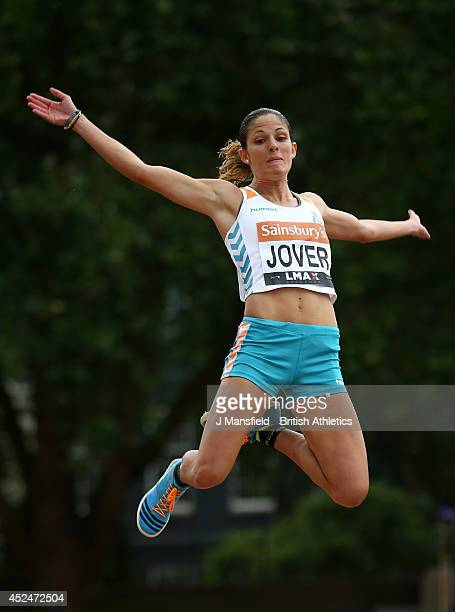 Maria del Mar Jover of Spain in action in the Womens long jump during the Sainsbury's Anniversary Games at Horse Guards Parade on July 20 2014 in...