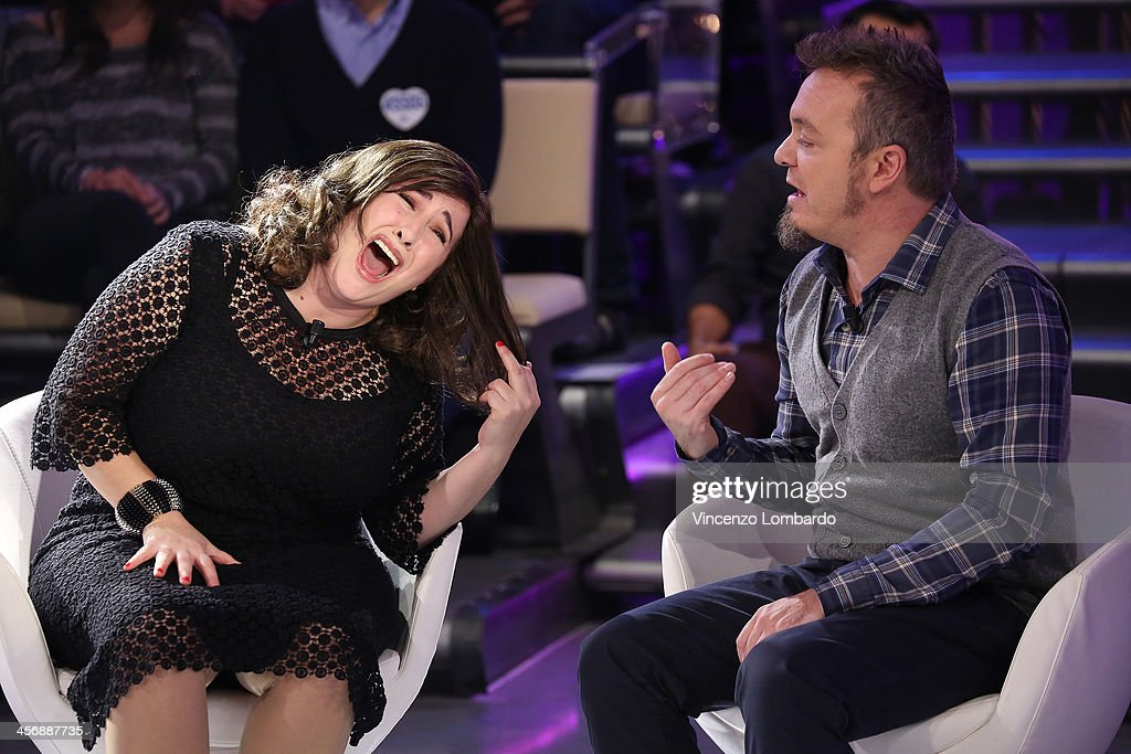 Maria Di Biase (L) and Corrado Nuzzo appear on Italian tv show 'Quelli Che Il Calcio' on December 15, 2013 in Milan, Italy.
