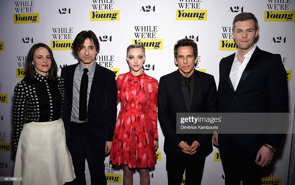 Maria Dizzia Noah Baumbach Amanda Seyfried Ben Stiller and Ryan Serhant attend the 'While We're Young' New York Premiere at Paris Theater on March 23...