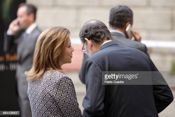Maria Dolores de Cospedal and Mariano Rajoy attend 'Requiem' by Verdi at Toledo Cathedral on April 12 2014 in Toledo Spain