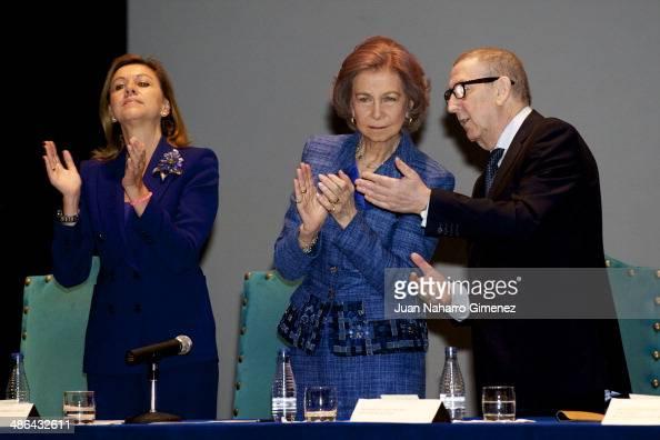 Maria Dolores de Cospedal and Queen Sofia of Spain attend 'Talavera City' awards at Palenque Theater on April 24 2014 in Talavera de la Reina Spain