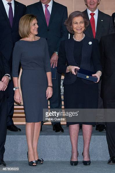 Maria Dolores de Cospedal and Queen Sofia of Spain attends the awards of the 'Real Fundacion de Toledo' at the 'El Greco' auditorium on March 27 2015...