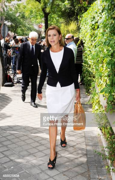 Maria Dolores de Cospedal attends the funeral chapel for Isidoro Alvarez president of El Corte Ingles who died at 79 aged on September 15 2014 in...