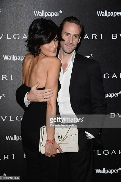Maria Dolores Dieguez and Joseph Fiennes attend the Bulgari Bzero1 during Salone del Mobile 2013 at Bulgari Hotel on April 10 2013 in Milan Italy