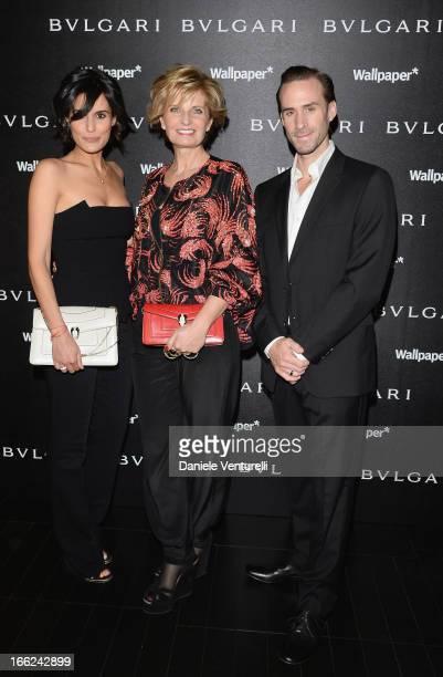 Maria Dolores Dieguez Sabina Belli and Joseph Fiennes attend the Bulgari Bzero1 during Salone del Mobile 2013 at Bulgari Hotel on April 10 2013 in...