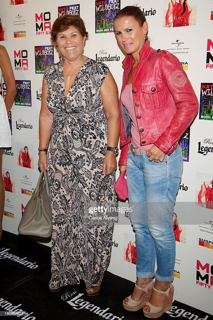 Maria Dolores Dos Santos (L) and her daugther Elma Aveiro (R) attend the presentation of new album 'Feat Wildboyz' at the MOMA Club on September 18, 2013 in Madrid, Spain.