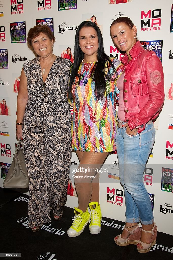 Maria Dolores Dos Santos, singer Katia Aveiro and Elma Aveiro attend the presentation of new album 'Feat Wildboyz' at the MOMA Club on September 18, 2013 in Madrid, Spain.