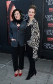 Maria Doyle Kennedy and Evelyn Brochu attend the 'Orphan Black' premiere at Sunshine Cinema on April 17 2014 in New York City