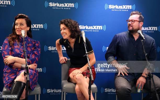 Maria Doyle Kennedy Tatiana Maslany and Kristian Bruun visit SiriusXM's Entertainment Weekly Radio at SiriusXM Studios on June 6 2017 in New York City