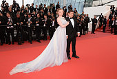 Maria Dragus and Crisitan Mungiu attend the closing ceremony of the 69th annual Cannes Film Festival at the Palais des Festivals on May 22 2016 in...