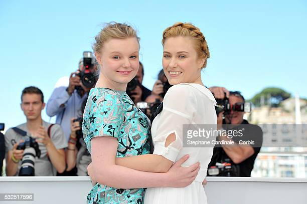Maria Dragus and Malina Manovici attends the 'Graduation ' Photocall during the 69th annual Cannes Film Festival at the Palais des Festivals on May...