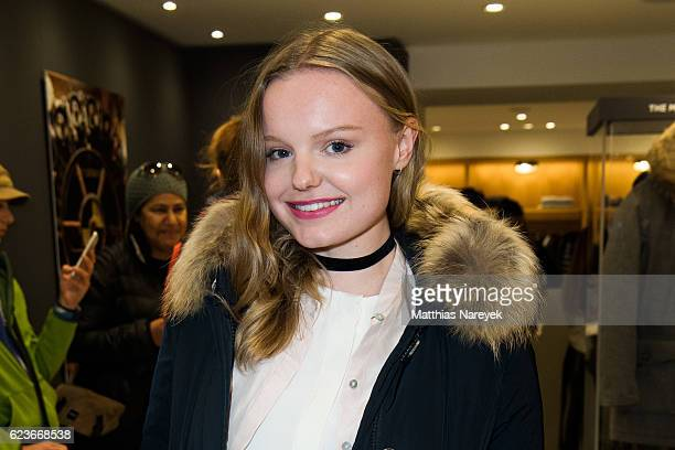 Maria Dragus attends the 'The Woolrich Mill Tradition And Future Of Wool' photo exhibition opening by Woolmark and Woolrich on November 16 2016 in...
