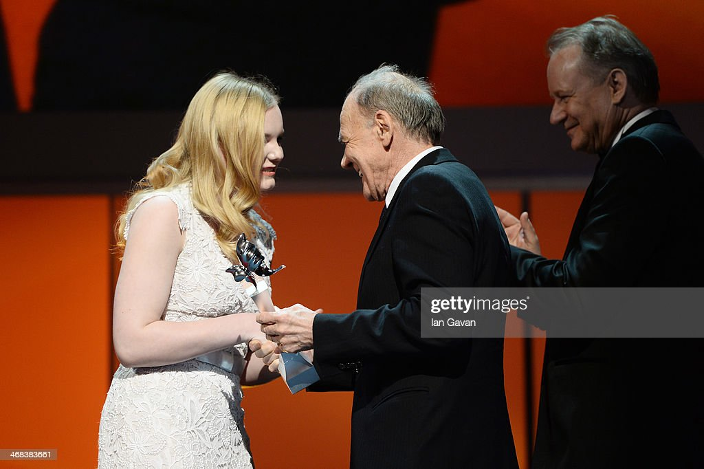 Maria Dragus, Bruno Ganz and Stellan Skarsgard on stage at the Shooting Stars stage presentation during the 64th Berlinale International Film Festival at the Berlinale Palast on February 10, 2014 in Berlin, Germany.