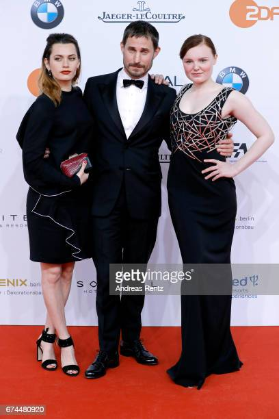 Maria Dragus Clemens Schick and Ella Rumpf attend the Lola German Film Award red carpet at Messe Berlin on April 28 2017 in Berlin Germany