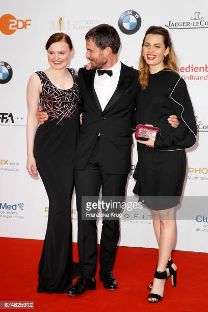 Maria Dragus Clemens Schick and Ella Rumpf during the Lola German Film Award red carpet arrivals at Messe Berlin on April 28 2017 in Berlin Germany