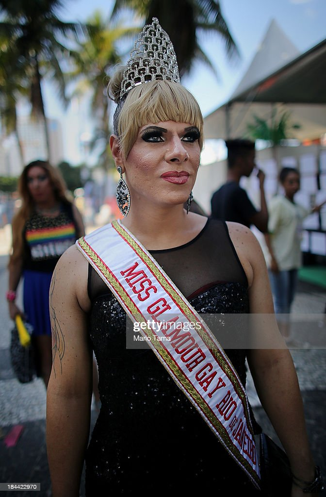 Maria Eduarda poses during Rio de JaneiroÕs 18th Gay Pride Parade along Copacabana Beach on October 13, 2013 in Rio de Janeiro, Brazil. Brazil is the world's largest Catholic nation with an estimated 60,000 gay couples. In May, Brazil became the third country in Latin America to effectively approve same-sex marriage via a court ruling, but a final law has yet to be passed.