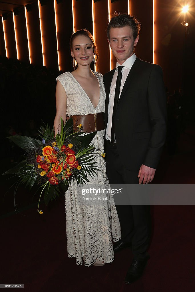 Maria Ehrich and Jannis Niewoehner attend the 'Rubinrot' premiere on March 5, 2013 in Munich, Germany.