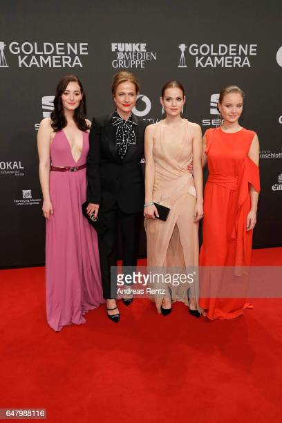 Maria Ehrich Claudia Michelsen Emilia Schuele and Sonja Gerhardt arrive for the Goldene Kamera on March 4 2017 in Hamburg Germany