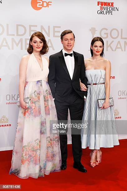 Maria Ehrich David Kross and Emilia Schuele attend the Goldene Kamera 2016 on February 6 2016 in Hamburg Germany