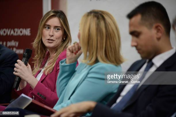 Maria Elena Boschi Undersecretary of the Presidency of the Council and Luigi Di Maio of the 5 Star Movement during the presentation of the book...