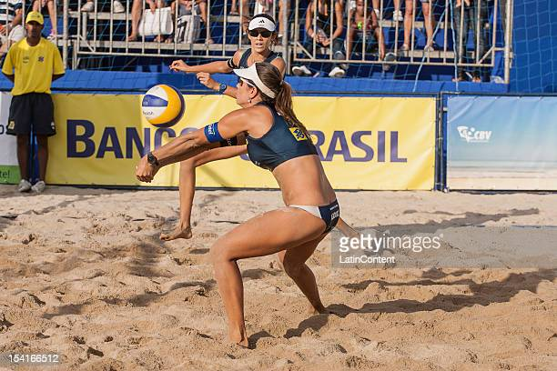 Maria Elisa Antonelli hits a return during the Women's Beach Volleyball Circuits Banco do Brasil at Centro Administrativo on October 12 2012 in Belo...
