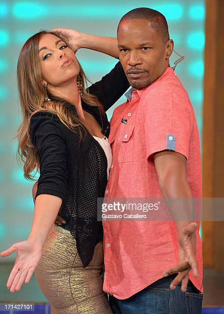 Maria Elisa Camargo and Jamie Foxx appears on Univision's 'Despierta America' to promote film 'White House Down' at Univision Headquarters on June 24...
