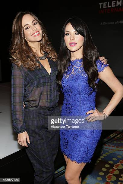 Maria Elisa Camargo and Vanessa Villela attend Telemundo Luncheon to launch 'Camelia Le Texana' during NATPE at Eden Roc Hotel on January 27 2014 in...
