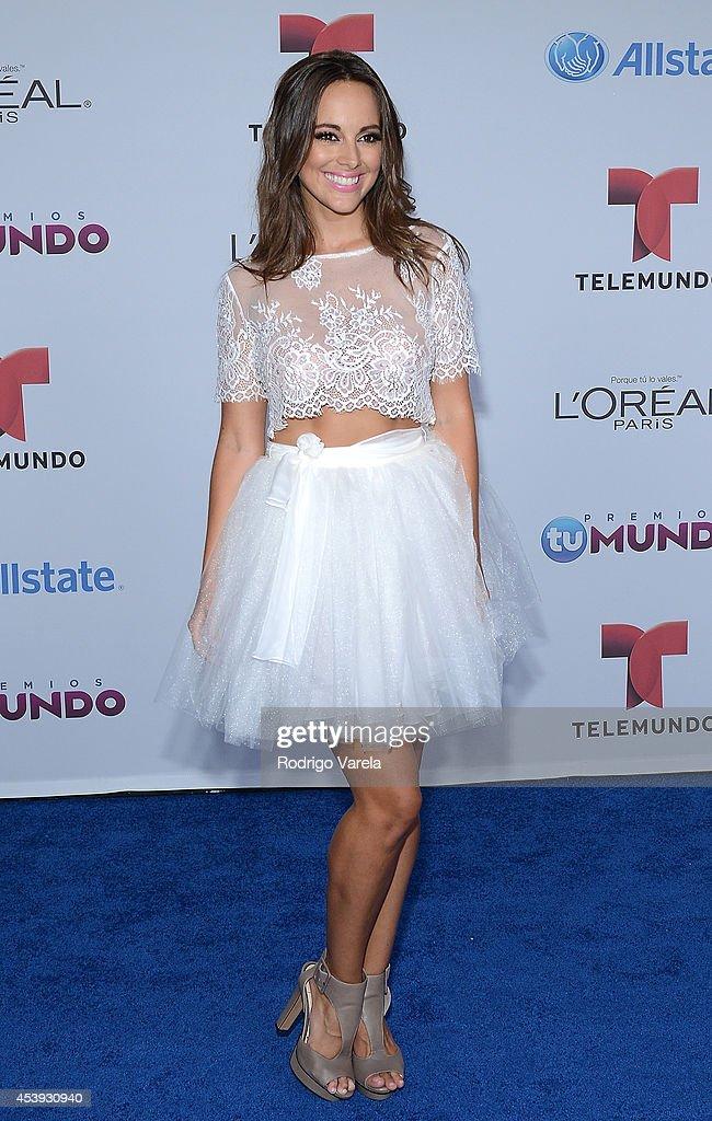 Maria Elisa Camargo arrives at Premios Tu Mundo Awards at American Airlines Arena on August 21 2014 in Miami Florida