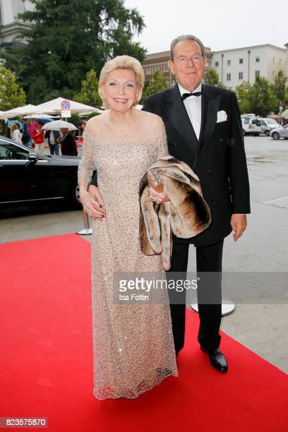 Maria Elisabeth Schaeffler and her husband Juergen Thumann attend the 'La Clemenzia di Tito' premiere during the Salzburg Festival 2017 on July 27...