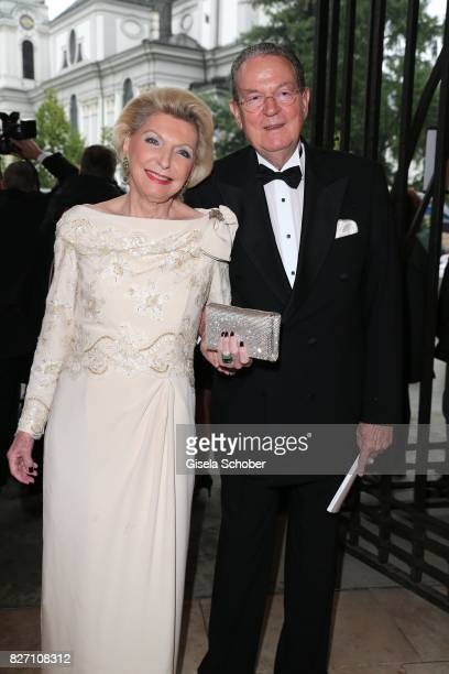 Maria Elisabeth Schaeffler SchaefflerThumann and her husband Juergen Thumann attend the 'Aida' premiere during the Salzburg Opera Festival 2017 on...
