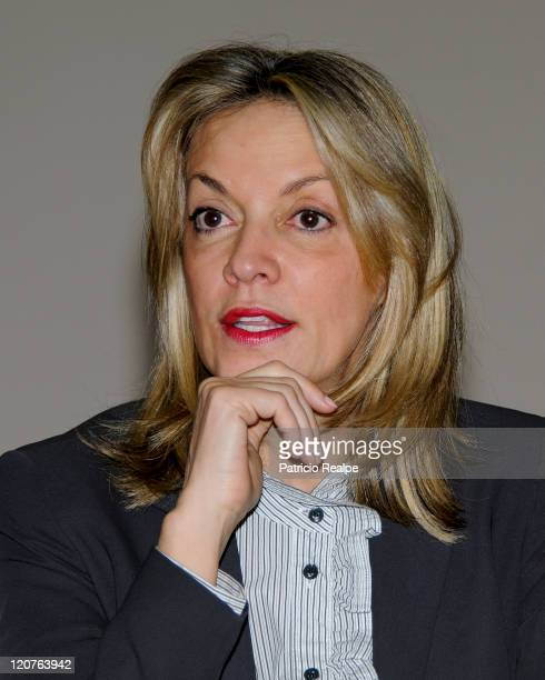 Maria Emma Mejia secretary general of the Union of South American Nations gives a speech during a breakfast meeting with the foreign press on August...