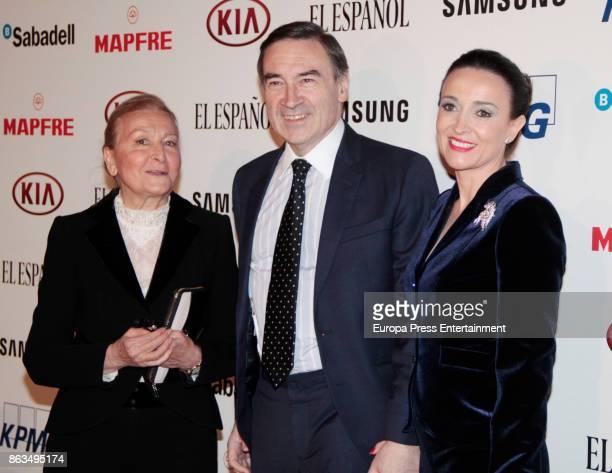 Maria Espana Pedro J Ramirez and Cruz Sanchez de Lara attend 'Los Leones' Awards 2017 on October 19 2017 in Madrid Spain