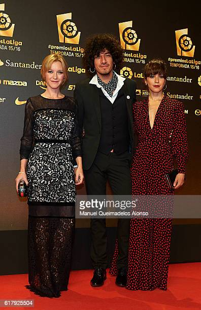 Maria Esteve Isaac Guzman and Veronica Sanchez attend the LFP Soccer Awards Gala 2016 at Palacio de Congresos on October 24 2016 in Valencia Spain