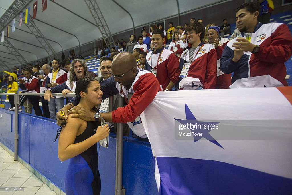 Maria Far of Panama reacts after winning the gold medal in women's 200 meter butterfly as part of the I ODESUR South American Youth Games at Piscina Ol'mpica Campo de Marte on September 23, 2013 in Lima, Peru.