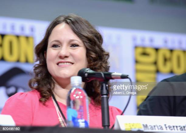 Maria Ferrari speaks onstage at ComicCon International 2017 'The Big Bang Theory' panel at San Diego Convention Center on July 21 2017 in San Diego...