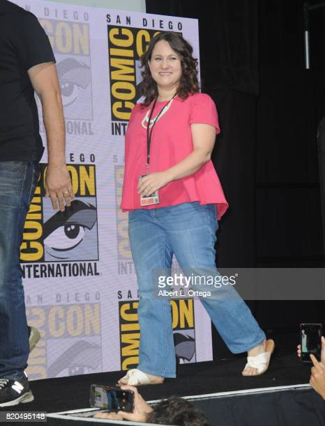 Maria Ferrari walks onstage at ComicCon International 2017 'The Big Bang Theory' panel at San Diego Convention Center on July 21 2017 in San Diego...