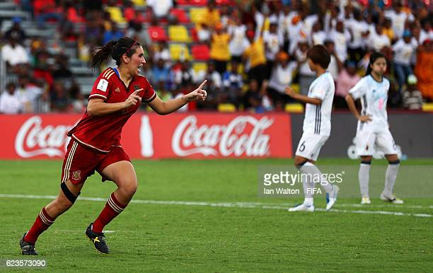 Maria Francesca Caldentey Oliver of Spain celebrates scoring a goal during the FIFA U20 Women's World Cup Group B match between Spain and Japan at...