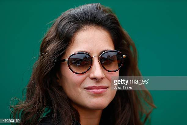 Maria Francisca Perello girlfriend of Rafael Nadal of Spain watches on in the match against Novak Djokovic of Serbia in the semi finals during day...
