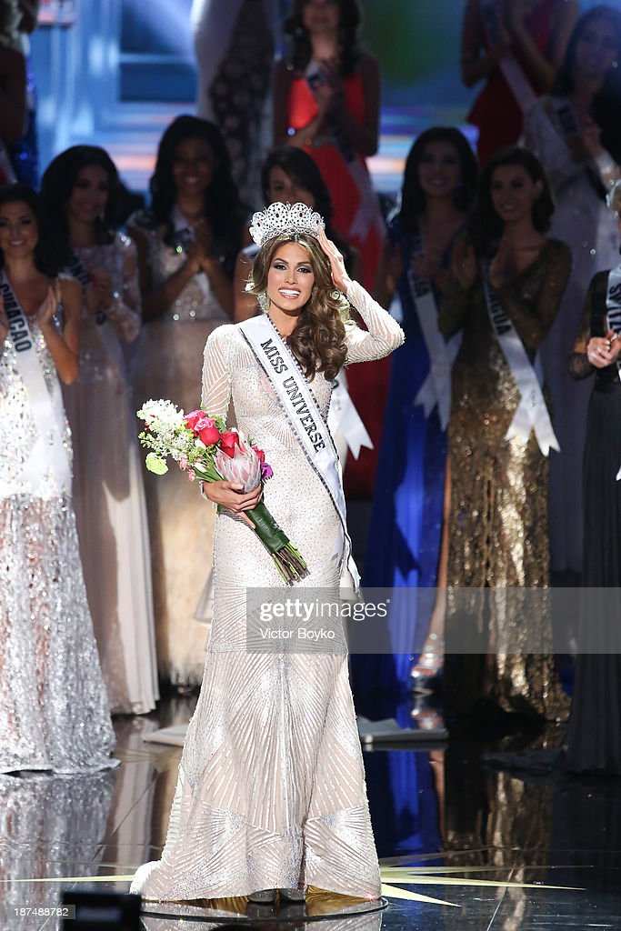 Maria Gabriela Isler, Miss Universe 2013, on stage at Miss Universe Pageant 2013 on November 9, 2013 in Moscow, Russia.