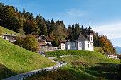 Maria Gern Chapel near Berchtesgaden with Watzmann mountain in summer, Bavaria, Germany