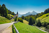 Maria Gern church against Wartzmann mountain, Berchtesgaden land, Germany