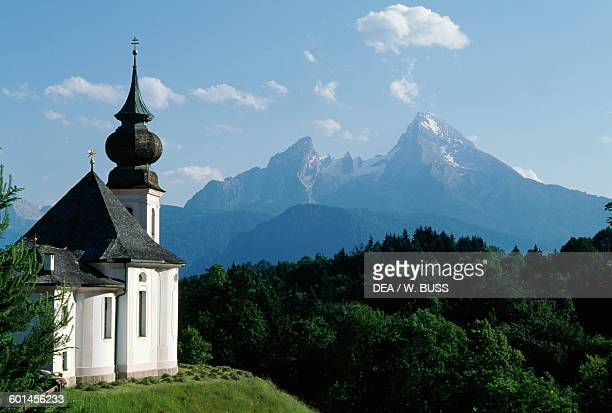 Maria Gern church with the Watzmann massif in the background near Berchtesgaden Bavaria Germany