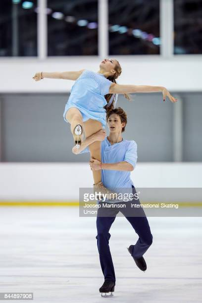 Maria Golubtsova and Kirill Belobrov of Ukraine compete in the Junior Ice Dance Free Dance during day 3 of the Riga Cup ISU Junior Grand Prix of...
