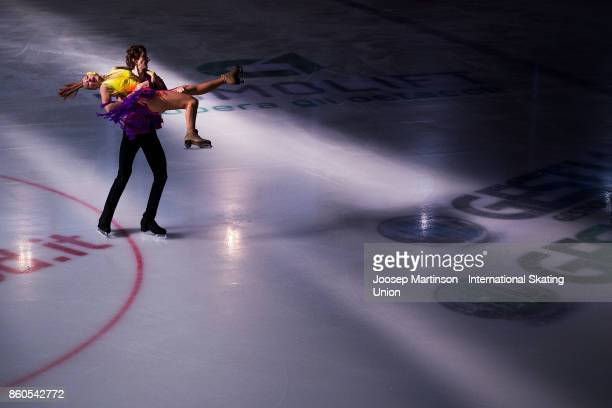 Maria Golubtsova and Kirill Belobrov of Ukraine compete in the Junior Ice Dance Short Dance during day one of the ISU Junior Grand Prix of Figure...