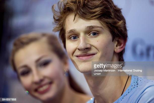 Maria Golubtsova and Kirill Belobrov of Ukraine look on at the kiss and cry in the Junior Ice Dance Free Dance during day 3 of the Riga Cup ISU...