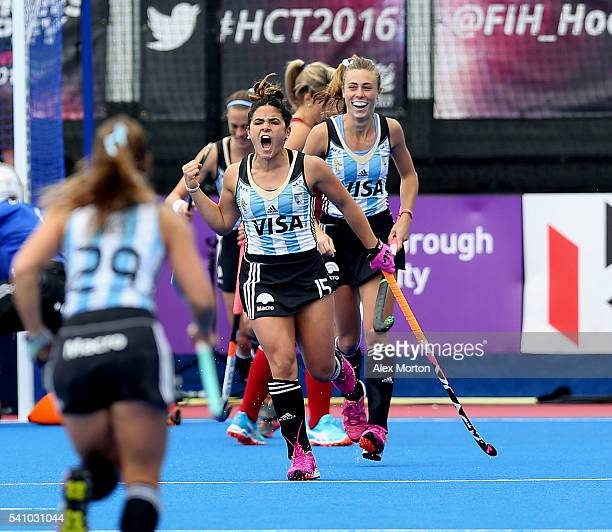Maria Granatto of Argentina celebrates after scoring their first goal during the FIH Women's Hockey Champions Trophy match between Argentina and...