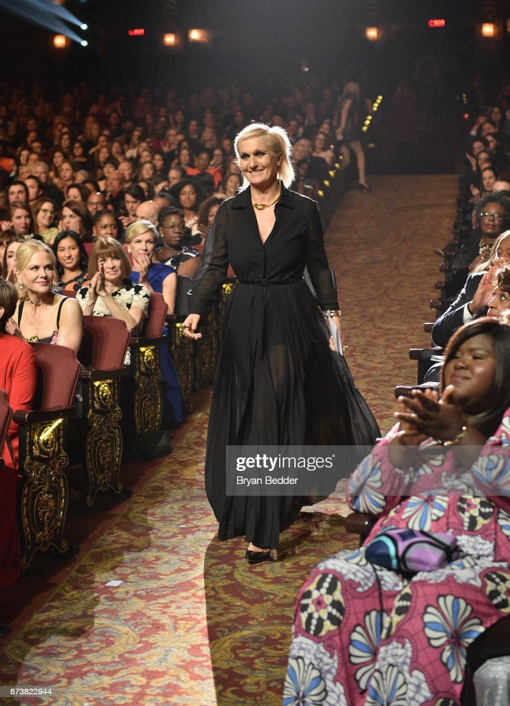 Maria Grazia Chiuri accepts an award at Glamour's 2017 Women of The Year Awards at Kings Theatre on November 13, 2017 in Brooklyn, New York.