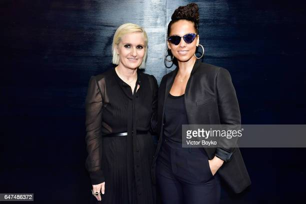 Maria Grazia Chiuri and Alicia Keys pose backstage after the Christian Dior show as part of the Paris Fashion Week Womenswear Fall/Winter 2017/2018...