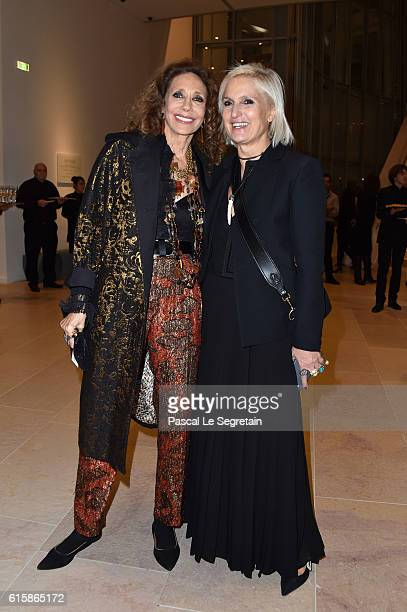 Maria Grazia Chiuri and Marisa Berenson attend a Cocktail for the opening of 'Icones de l'Art Moderne La Collection Chtchoukine'at Fondation Louis...