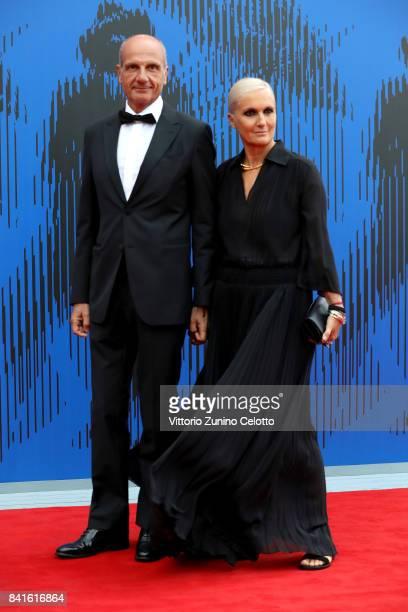 Maria Grazia Chiuri and Paolo Regini attend The 1st Franca Sozzani Award during the 74th Venice Film Festival at Sala Giardino on September 1 2017 in...